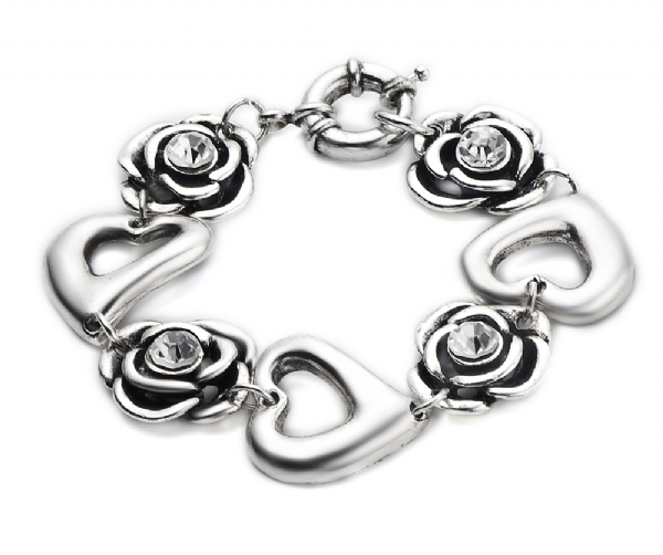 Rose and Heart alloy bracelet